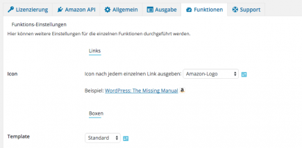 AAWP - Amazon Affiliate WordPress Plugin - Funktionen - Plugin Einstellungen Funktionen