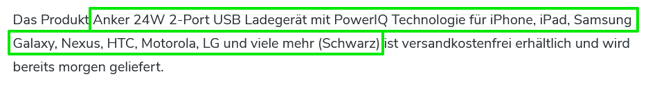 Amazon Datenfelder Fließtext