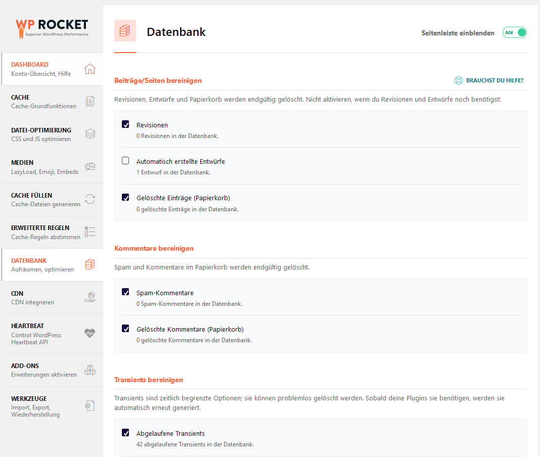 WP Rocket Datenbank